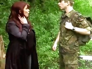 Very Big-boobed Cougar Mummy Entices Youthful Soldier On Duty