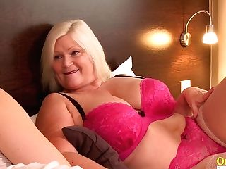 Oldnanny Utter-bosomed Blonde Hair Stunner Cougar Lacey With Lezzie