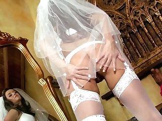 Crazy Dark Haired Bride Taylor Vixen In Snow Milky Undergarments