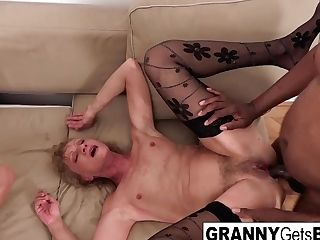 A Duo Of Horny Grannies Get Fucked In The Rump By Big Black Cock
