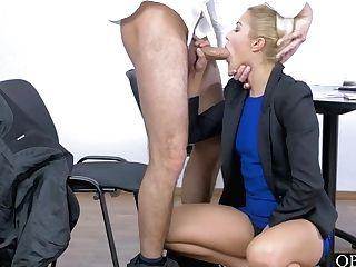 Insane Blonde Honey Cherry Smooch Railing A Spear In Office
