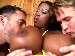Dark Skinned Lady Maserati With Monster Tits Takes Two Milky
