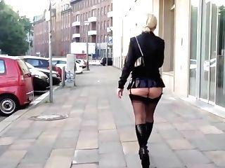 Mummy Bi-atch Out Ambling In Miniskirt And Stockings