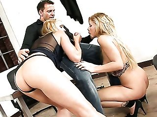 Horny Dude Is Lucky Enough To Choose Whom Of Two Blondies To Fuck First-ever