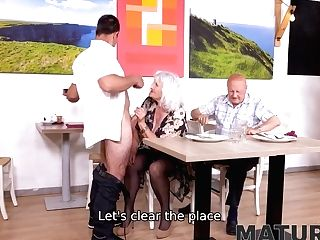 Hey, Waiter! A Coffee For Me And A Rigid Stiffy For My Matures Wifey!