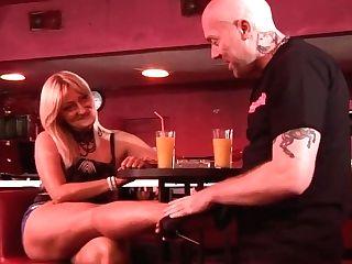Serbian Cougar Tempts Baldhead Dude In The Bar
