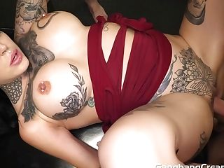 Tattooed Cougar Xxx Gang-bang Internal Ejaculation Vid