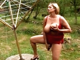 Huge-titted Czech Housewife Masturbates In The Garden