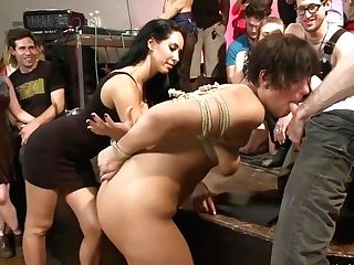 Black-haired Sub Sucking In Public Place