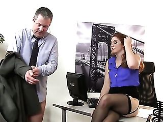 Fem Dom At The Office With Lovely Ginger-haired Rose Crimson