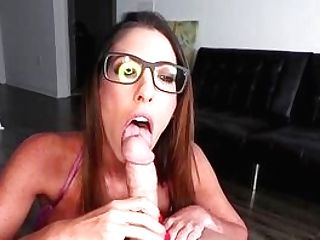 Thrilled Honey Deepthroats Dick And Waits For Spunk On Her Glasses