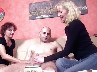 Two German Mummy Instruct Youthful Cherry Boy To Fuck