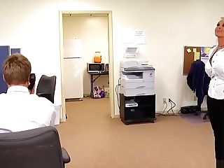 Big Jugged Mummy Chief Holly Halston Fucks A Junior Fellow In The Office