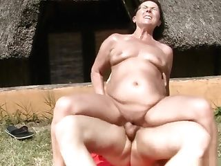 Sugary Dark Haired Matures Lady Idyll Has Orgy With A Youthful Man Outside