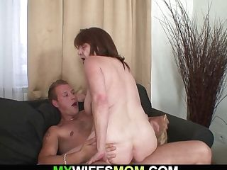Old Huge-titted Mom-in-law Rails Him Cheating Boner